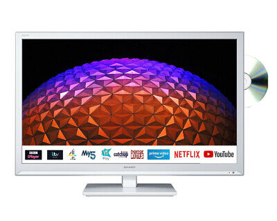 £179 • Buy Sharp 1T-C24BE0KR1W 24  White HD Ready Smart Television With Built In DVD Player