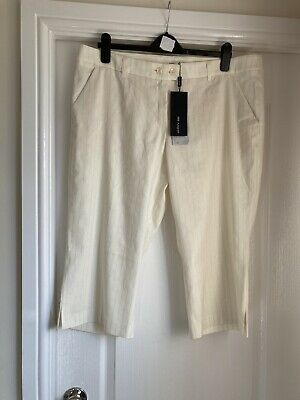 £5 • Buy Autograph M&s Cream Stretch Linen Cropped Trousers, New,size 20