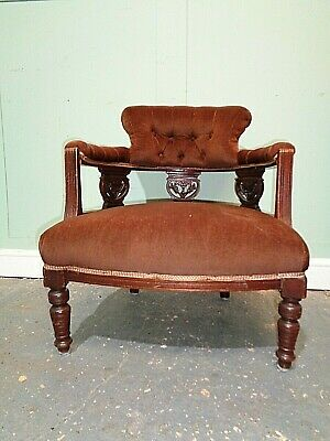 £145 • Buy ANTIQUE VICTORIAN UPHOLSTERED TUB CHAIR EASY CHAIR VINTAGE FIRESIDE CHAIR C1880