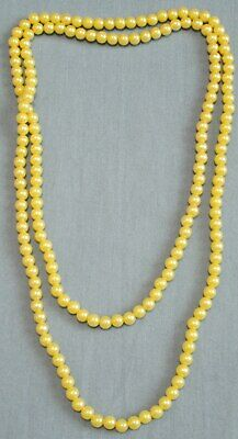 $11.99 • Buy Vintage Yellow 6mm Plastic Bead Necklace 38 Inches Long 1950's