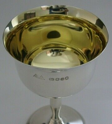 £170 • Buy QUALITY ENGLISH SOLID STERLING SILVER WINE GOBLET CHALICE 1977 132g SUPERB