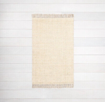 $28.99 • Buy Hearth & Hand With Magnolia 2'x3' Jute Rug Cream With Gray Fringe And Pattern