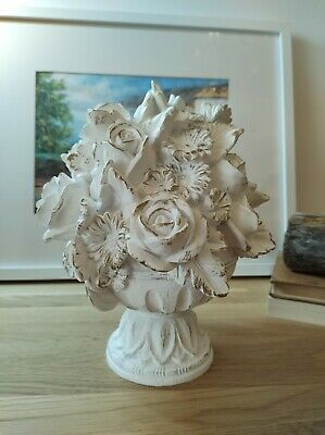 £12.99 • Buy Laura Ashley Classic Decor White And Gold Roses Wooden Ornament Shelf Sitter VGC
