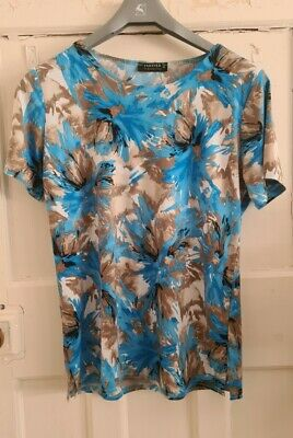 £2 • Buy Forever By Michael Gold Blue White Brown Floral Short Sleeve Top Size M