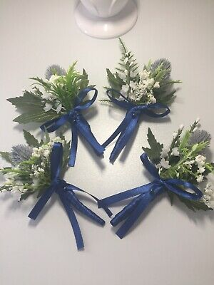 £15 • Buy Scottish Thistle Heather Buttonholes (4)Sea Holly With Blue Ribbon