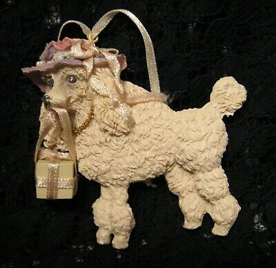 £3.54 • Buy POODLE CHRISTMAS ORNAMENT White Dog Holding Present Wearing Pink Hat Resin Flat