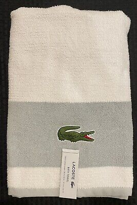 £13.59 • Buy ⭐ Lacoste 🐊 Bath Towel 100% Cotton 30 X52  Large Embroidered Logo White & Gray