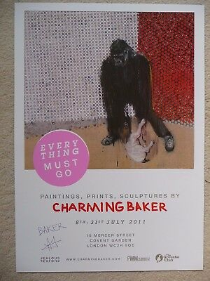 £75 • Buy Charming Baker 4 Show Posters (Pink One SIGNED) From His London Solo Show 2011