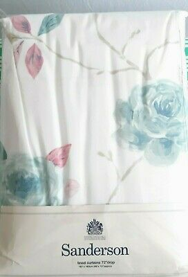 £39.99 • Buy Sanderson Lined Curtains 66  Wide X 72  Drop Romantic Rose Aqua Ivory New Faulty