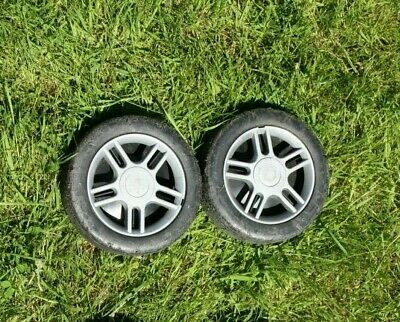 £19.95 • Buy QUALCAST CHAMPION S&J Etc PETROL LAWNMOWER Pair Of Front Wheels + Covers 165mm
