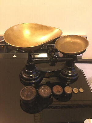 £25 • Buy Vintage Librasco Cast Iron And Brass Kitchen Scales Made In England Some Weights