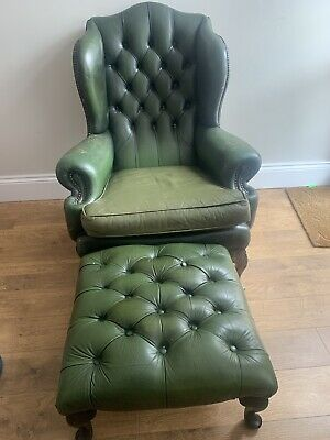 £200 • Buy Vintage Antique Green Queen Anne Chesterfield Chair Hand Carved Elephant Legs