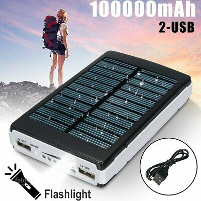 £9.29 • Buy Portable 100000mAh Solar Charger Power Bank 2 USB LED For IPhone 11 8 X XS XR
