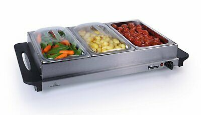 £20 • Buy Premium 2 In 1 Extra Large Buffet Warmer & Hot Plate - 3 X 2.5lt Capacity