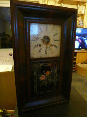 £85 • Buy American Ansonia 1870s OG Wall Clock..Floral Picture Glass..Serviced & Working.