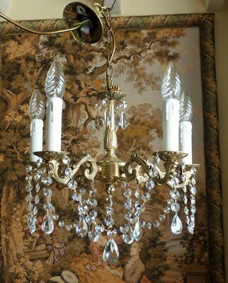 £115 • Buy Vintage French Rococo 5 Light Brass & Crystal Chandelier Ceiling Light