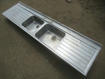 £99 • Buy INDUSTRIAL STAINLESS STEEL DOUBLE DRAINER BASIN SINK CATERING PUB 213cm X 53.5cm