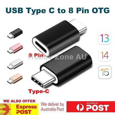 AU7.85 • Buy USB Type C Male To 8 Pin Female OTG Adapter Fast Charging Converter Data Sync