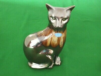 £10 • Buy Poole Pottery Bronze Lustre Cat Ornament Boxed Height 12