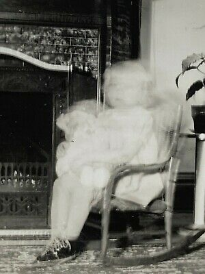£7.04 • Buy Creepy Blur Girl  With Doll Next2 Fireplace  /  Circa 1940  / Ghost / Bad Seed