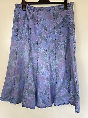 £14.90 • Buy Marks And Spencer Classic Denim Long Floral Button Skirt Sz 18