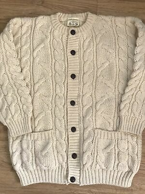 """£42.99 • Buy Traditional Cream 100% British Wool Cable Knit Aran Cardigan XL 46-48"""" Chest 2nd"""