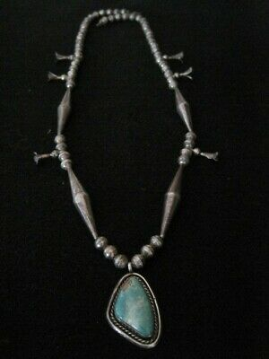 $ CDN844.11 • Buy Exceptional Navaj Squash Blossom Sterling Silver Turquoise Necklace ~OLD~ Signed