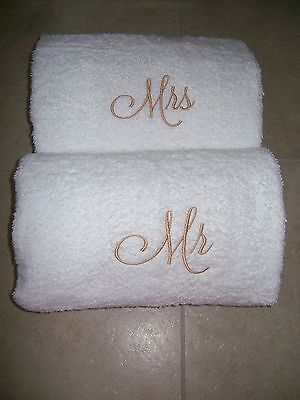 £21.30 • Buy Mr. And Mrs. Embroidered Bath Towels- Wedding Gift