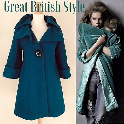 £65 • Buy Darling Coat Teal Blue Size S Uk 10-12 3/4 Sleeve Wool Mix  Statement Collar