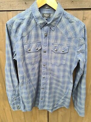 £1.20 • Buy Mens Pepe Jeans  Blue Green Checked Shirt Slim Fit Size XS