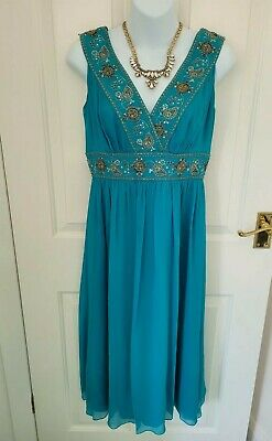 £5 • Buy MONSOON Turquoise Silk Dress With Sequins And Beading Size 10