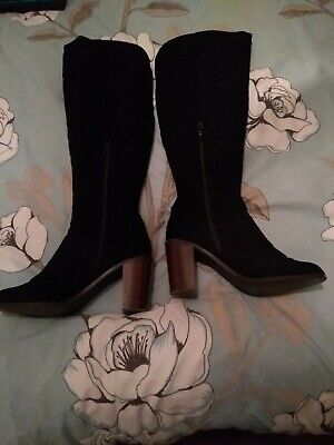 £18 • Buy Red Herring Wide Fit Black Suede Knee High Boots Size 5