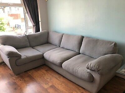 £1.20 • Buy Harvey Left Hand Corner Sofa Grey Spinning Cuddle Chair For 2 USED