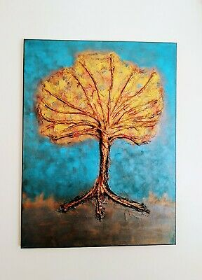 £28.50 • Buy Original Acrylic 3D 'Tree Of Hope  Hand Painted In Metalic Colours18x24 Inch