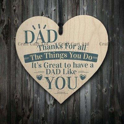 £2.99 • Buy Wooden Plaque Heart Present Sweet Message Thanks Dad Gift Father's Day Birthday