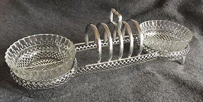 £7 • Buy Lovely Vintage Silver Plate Toast Rack With Attached Preserve Bowls