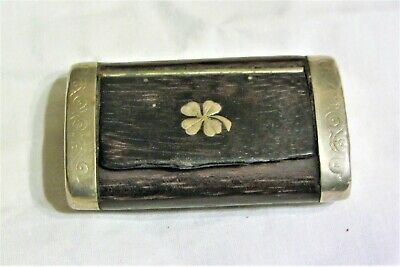 £24.99 • Buy Antique Wooden Snuff Box With Four Leaf Clover Inlay Victorian? Rosewood?