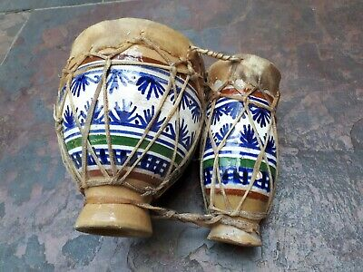 £11 • Buy Hand Painted, Pottery, Skinned Bongo Drums -20 Wide & 6 Tall