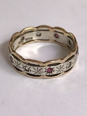 £35 • Buy Vintage 1975 9Ct Gold & Silver Full Eternity Ring Set With Diamonds And ?Rubies