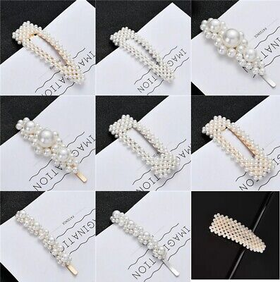 £2.49 • Buy Large Pearl Hair Clips Slide Bridal Accessory Geometric Snap Hairpins Barrette