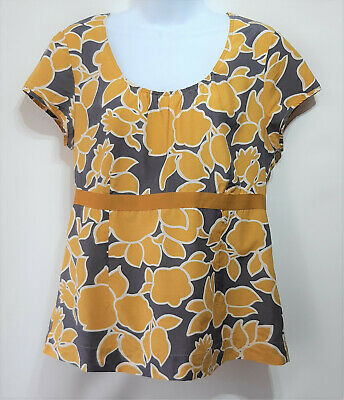 £9 • Buy Boden Summer Top Silk Mix Yellow Floral Capped Sleeve Peasant Boho Size 14 Used