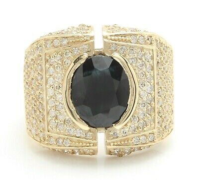 £3.54 • Buy 5.50 Carat Natural Sapphire And Diamonds In 14K Solid Yellow Gold Men's Ring