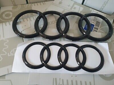 £15.49 • Buy For Audi A1 A3 A4 A5 A6 Gloss Black Front + Rear Grille Badge Rings Emblem