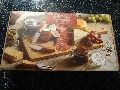 £10 • Buy New In Box Bamboo Cheese Board, Knives Set And Pickle Jars Gift Set Garden Party