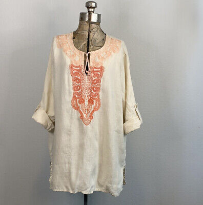 £7.36 • Buy Simple Nyc Embroidered Linen Peasant Top Size XL