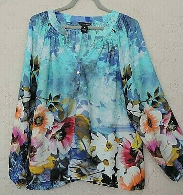 £11.32 • Buy Investments Sz XL 1X Artsy Blue Floral Peasant Blouse Shirt Tunic Top 16 18 20