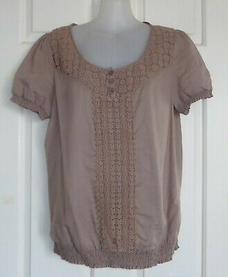 £3.81 • Buy TARGET Size 10 Beige Lace Peasant Style Top 100% Cotton