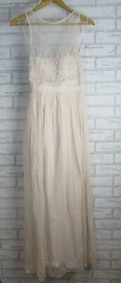 AU38 • Buy Forever New Maxi Dress 8 Evening Gown Formal Beaded Womans Beige Solid