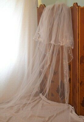 £35 • Buy Joyce Jackson Pale Pink Double Bridal Veil With Butterflies & Drop Crystals