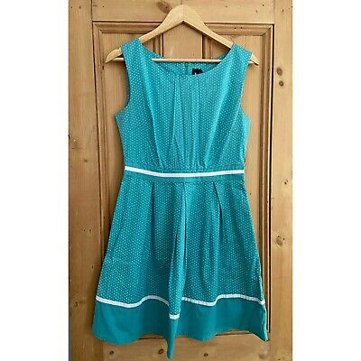 £2.99 • Buy Size 12 50s Style Teal And White Polka Dot Dress